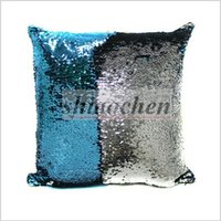 Wholesale Sequins Pillow Case Tone Color Sofa Pearl Sequin Pillowslip Reversible Iridescent Glow Mesmerized Pillow Covers Home Decorative A112