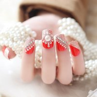 Wholesale 24pcs set Beauty Pre Design Nail Tips Acrylic Nails Full French nail tips d False Nail With Free Glue