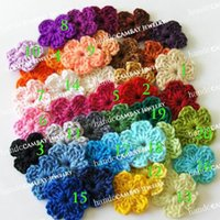 Wholesale Mixed Crocheted Woolen Handmade Flat Flowers Patches Applique Clothes Apparel Sewing DIY Crafts Material knitted Flowers