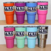 white mugs - Custom Muti Color Yeti Rambler Tumbler Cup oz Yeti Tumbler Stainless Steel Double Wall Vacuum Insulated Cup Travel Mug IN STOCK