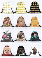 Wholesale 2016 New D Print Emoji Backpacks Kids Men Women Emoji QQ Expression Drawstring Bags Kids Toys Pouch Shopping Bags Children Beach Bags