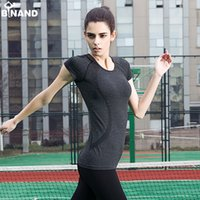 Wholesale Women s Yoga Shirts Running short Shirts Tops Compression Tights Sportswear Fitness Workout Quick Dry Breathable Shirts