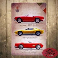 antique convertible cars - Metal Tin signs Classic Sports Convertible Car Garage House Office Restaurant Pub Bar iron Paintings