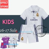 away kits - 2016 Real madrid Kids soccer Jersey Youth Child kit RONALDO home white away Purple Sets JAMES BALE RAMOS ISCO football shirt