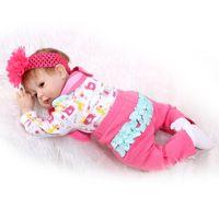 bebe rose - 22Inch cm Silicone Vinyl Reborn Baby Dolls In Rose Color Clothes Lifelike Reborn Dolls Babies Bebe Boneca Best Christmas Gift