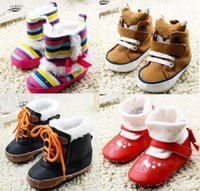 bb t - Rainbow striped bow bow waist quilted BB boots Brown cartoon fox head sets baby girl socks toddler shoes sports shoes