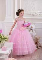 Wholesale Cute Pink Little Girls Pageant Dresses One Shoulder Lace Flower Girls Dresses Flowers Sash Tulle Toddler Girls Ball Dresses