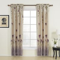 Wholesale Floral Polyester Purple Rod Pocket Top Blackout Curtains Drapes With Multi Size Customs