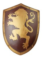 Wholesale Pure Manual Made Medieval Knight Shield Lannister Lion Iron Combat Shield Home Decor Metal Painting Size cm