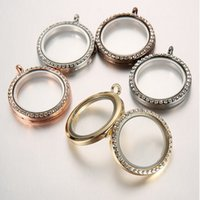 Wholesale Fashion mm Round Magnetic Crystal Pendant Silver Gold Floating Locket Memory Living Glass Photo Lockets Pendants