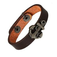 anchor fasteners - Popular Fashion Punk Brown Leather Bracelets Alloy Anchor Handwoven Snaps Fastener Charms Bracelet Jewelry