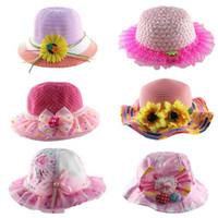 Precio de Sombrero de paja del sol-2-4 años, sombreros de sol de los niños 2016 Sombrero de paja de la perla de la perla de la sonrisa de la historieta del sombrero de la playa de las muchachas Sombrero de paja pequeño de la cortina del sol del verano sombrero E176