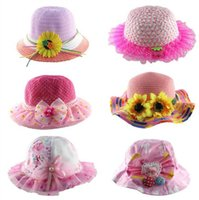Wholesale 2 year children s sun hats Girls beach hat cartoon smile strawberry pearl bow straw hat Summer sun shade small straw hat E176
