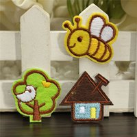 bee trees - Fabric Sticker Bee Tree House Patches Embroidery Sewing DIY Iron on Patch Clothes Bags Sewing Home Textile Crafts DIY Ornament