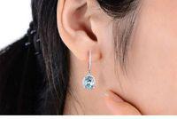 aquamarine gemstone earrings - CaiMao ct Natural Aquamarine KT White Gold ct Full Cut Diamond Earrings Jewelry Gemstone