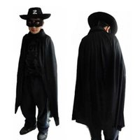 achat en gros de cape zorro-Hallowmas 3 pcs enfant Zorro Costume Set Cape Eye masque Hat pour Halloween Cosplay Masquerade Party