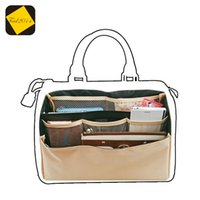 bag organizer insert clear - Feid2014 Organizer Insert Bag in Bag Dual Package Folding brown Storage bags Multi Pockets Suitable for Brand Boston Accessories Bags