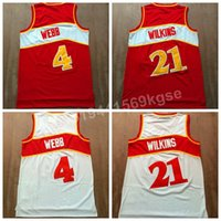 best basketball shirts - Discount wilkins Throwback basketball Jerseys Red White Color Retro Webb Shirt Uniform Fashion Breathable Best Quality
