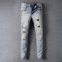 Wholesale New Men s Balmain Blue Biker Jeans Hole Denim Biker Skinny Leg Jeans Street Fashion Mens Jeans