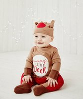 Wholesale Hot retial new style autumn children clothing kids boys suits baby infant Christmas snowman cute climbing clothes with hat