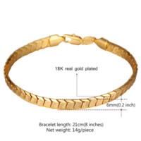 al por mayor 18k oro al por mayor de la joyería india-Pulseras de cadena Escala U7 para los hombres joyería del oro 18k real / pulseras para hombre de platino plateado 2016 joyas de moda al por mayor de la India H811