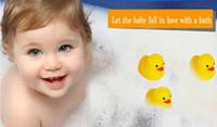 Wholesale Wholesales x4cm Cute Baby Girl Boy Bath Bathing Classic Toys Rubber Race Squeaky Ducks Yellow Sale