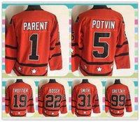 bernie parent - New All Star Ice Hockey Jerseys Bernie Parent Potvin Trottier Bossy Billy Smith Wayne Gretzky White Throwback Jerseys