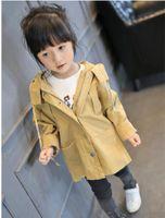 Wholesale 2016 autumn and winter new children s print jacket Children hooded windbreaker fashion girls wear Tench coats Outwear Kids Clothing