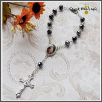 beaded rosary chain - 30pcs Catholic Divine Mercy Jesus Crucifix Black Faceted Glass Beads Decade Rosary Religious Gifts Car Rosary Mini Rosary Baptism Favor