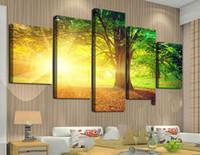 achat en gros de frame rate-Art encadré Arbres parmi le soleil jaune et le vert Grand HD Peinture sur toile la plus populaire pour le salon, mur Art Picture F / 759