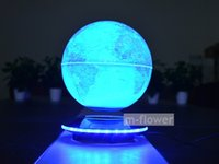 Wholesale 6 inch Blue Can Glowing Maglev Globe World Map Electronic Magnetic Levitation Floating Crafts Gifts Home Office Decoration With LED Lights
