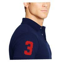 big brand logos - men brand shirts short sleeve solid cotton plus size embroidery logo Turn down collar shirt homme camisa de marca big horse