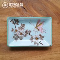 Wholesale New Rectangular Bathroom Soap Dish floral and birds Design Trinket Tray High quality Chinese Arts and crafts home decoration