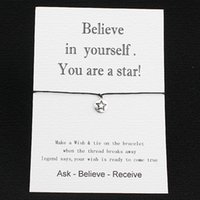 believe cards - Believe in Yourself You are a Star love card with Hearts Charm bracelet new Wish Bracelet Valentine s Day greeting card birthday card gift