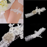 beautiful feminine - New White Cheap Beautiful Sexy Bridal Garters Flower Lace Rhinestones Sheer Elastic Wedding Accessories Garters for Bride CPA594
