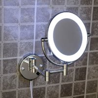 Wholesale High quality quot Brass x3X magnifying bathroom wall mounted round led cosmetic makeup mirror With lighting Mirror B