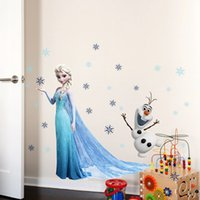 Wholesale Frozen Wall Stickers Decals Home Décor Removable Frozen Queen Elsa Olaf CM Wall Decals For Kids Children Room