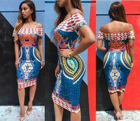 Wholesale 2016 New African fashion design Runway Dresses Women traditional print Dashiki National characteristics short sleeve slash neck dresses