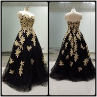 art samples - Real Sample Pictures New Black Tulle Gold Lace Applique Evening Dresses Beading Sweetheart Ball Gown Formal Prom Dresses Party Gowns