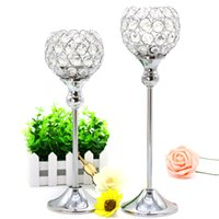 big candle holders - Crystal candle holder Metal Silver Plated Candelabra for Wedding Home Centerpiece decoration candle stand set cm cm candlestick