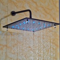 Cheap Square 16 Inch Rainfall Overhead Shower Head with LED Light Oil Rubbed Bronze Crystal Style