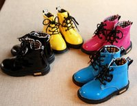 Wholesale Children shoes boys girls Candy Color patent leather boots kids Martin boots children girls boys Motorcycle boots size