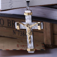 big crucifixes - Gift Big and Heavy Gold Plated Jesus Cross Pendant Necklace Fashion Men Jewelry Stainless Steel Crucifix Necklaces