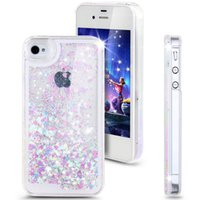 Wholesale Case Pink Iphone 4s Luxury - Fashion Creative Design Flowing Liquid Floating Luxury Bling Glitter Sparkle Love Heart Hard Case for Apple iPhone 4 4s 5 5s 6 6 plus