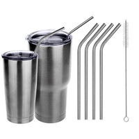 Wholesale 304 Stainless Steel Bend Drinking Straws Set of Straws Cleaning Brush For YETI Rambler Tumbler Cup High Quality