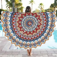Wholesale Indian Round Mandala Tapestry Boho Chiffon Round Beach Towels Blanket Yoga Mat Wall art Hanging Large Shawls Tablecloth Throw Blanket BKT090
