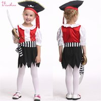 baby girl costumes boutique - Halloween Kids Pirate Cosplay Costumes Girls Silk Little Captain Boutique Stage Wear Baby Kids Fancy Party Dancewear Outfits