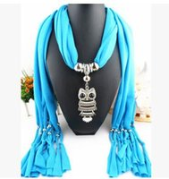 Wholesale Women Owl Jewelry Scarf with Pendant Beads Alloy Tassel Scarfs Fashion Designer Charms Necklace Mix Multi Color Infinity Scarves Hot Sale