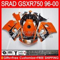 8gifts Pour SUZUKI GSXR750 96 97 98 99 00 GSXR-750 59NO10 brillant d'orange GSX R750 96-00 SRAD GSXR 750 1996 1997 1998 1999 2000 Carénage noir