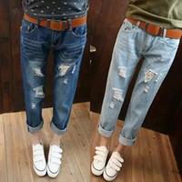 Wholesale New Korean Style Fashion Women Spring Autumn Casual BF Jeans Denim Pencil Pants Leisure Capris Korea Feet Pant Plus Size